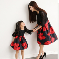 Fashion family dress mom and daughter matching clothes vintage hollow lace girl dress black and red flower print patchwork party