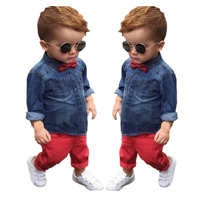 2016 New baby boys long sleeve suit soft denim full length sleeve shirt top + red full length set baby clothing set ropa de bebe