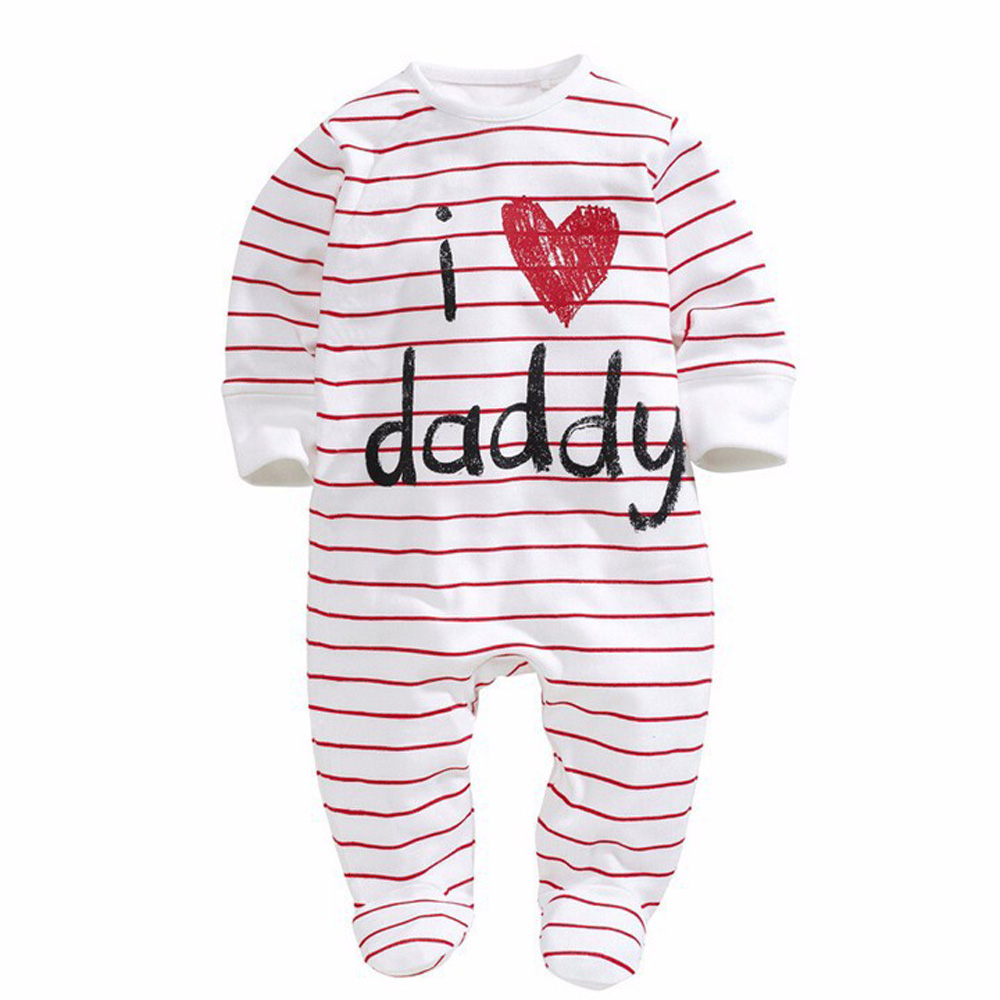 Fashion Newborn Love Mom And Dad Rompers Dot Stripe Long Sleeve Children Jumpsuit New Style Baby Clothing CL0743Fashion Newborn Love Mom And Dad Rompers Dot Stripe Long Sleeve Children Jumpsuit New Style Baby Clothing CL0743