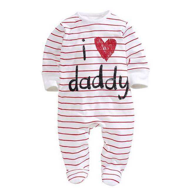 Fashion Newborn Love Mom And Dad Rompers Dot Stripe Long Sleeve Children Jumpsuit New Style Baby Clothing CL0743