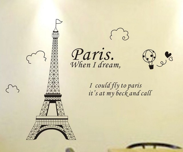 fashion paris eiffel tower removable vinyl art quotes wall sticker diy decoration decals drawing room decor