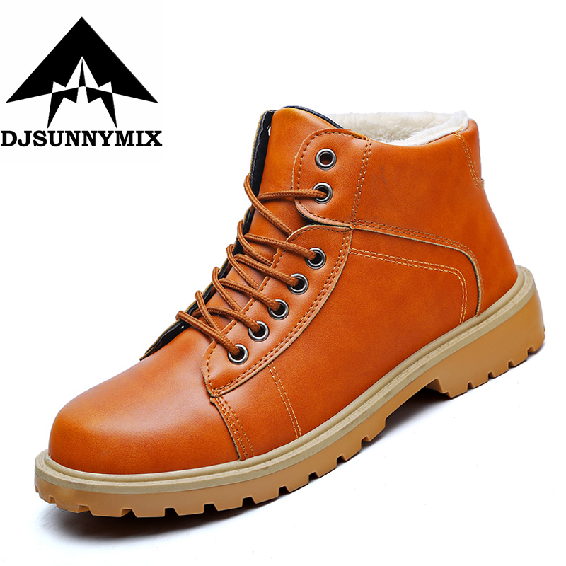 DJSUNNYMIX Super Warm Men's Winter Men Outdoor Waterproof Rubber Snow boots Leisure Martin Boots England Retro shoes for men serene handmade winter warm socks boots fashion british style leather retro tooling ankle men shoes size38 44 snow male footwear