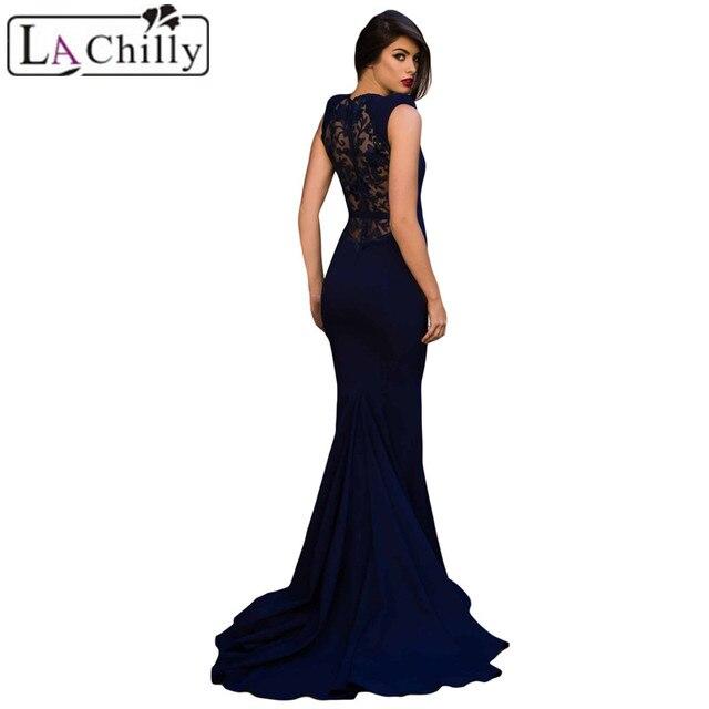 d4f6640dd45 La Chilly Robe Longue Femme Ete 2018 Long Summer Dresses Blue Elegant  Floral Embroidery Fishtail Evening Womens Dress LC610278