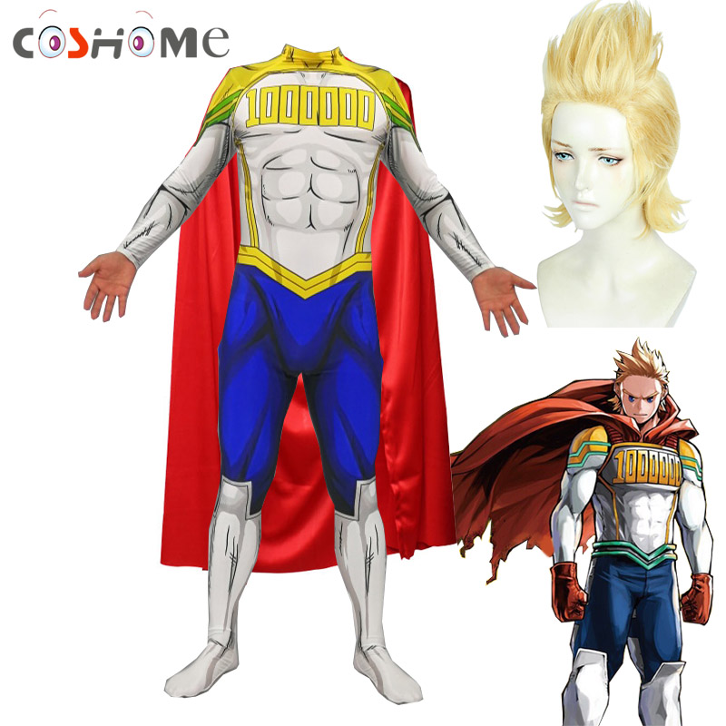 Coshome Boku no Hero Academia Lemillion <font><b>Mirio</b></font> Togata <font><b>Cosplay</b></font> Costume All Might My Hero Academia Men Jumpsuit Cloak Wig Set image