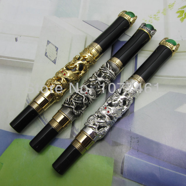 3pcs JINHAO Rollerball pen 3color dragon king play pearl pattern pen Ordinary Gift Box  J1139 noble jinhao old grey two dragon play pearl roller ball pen crystal golden silver 3 colors for choose