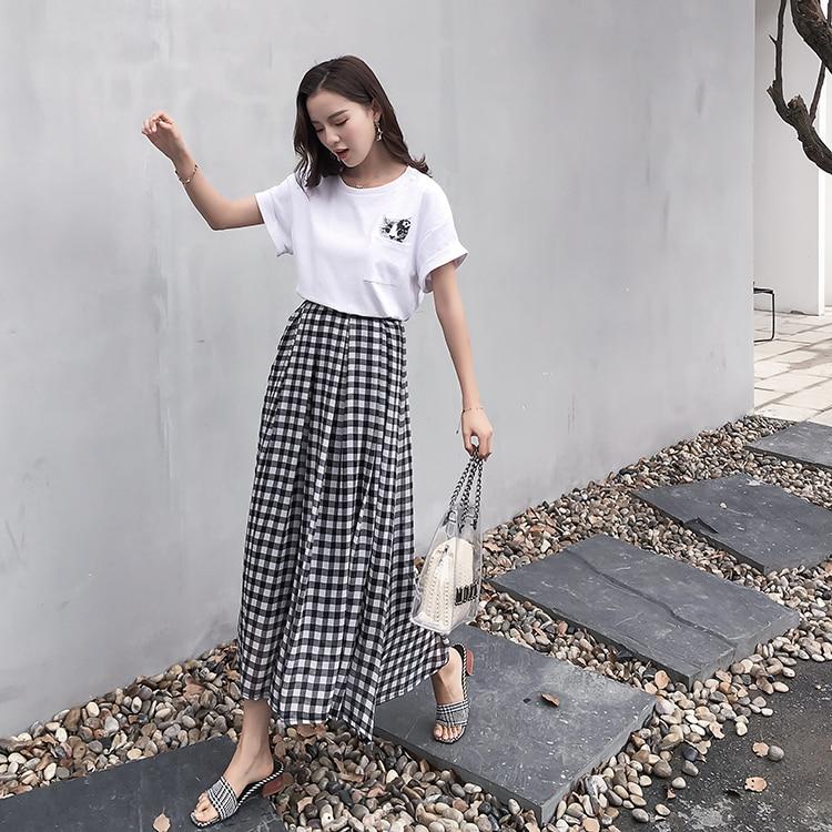 2018 Summer Women Skirt Short Sleeve Chiffon + Cat T-shirt + Two Suits Skirts Black White Plaid 965