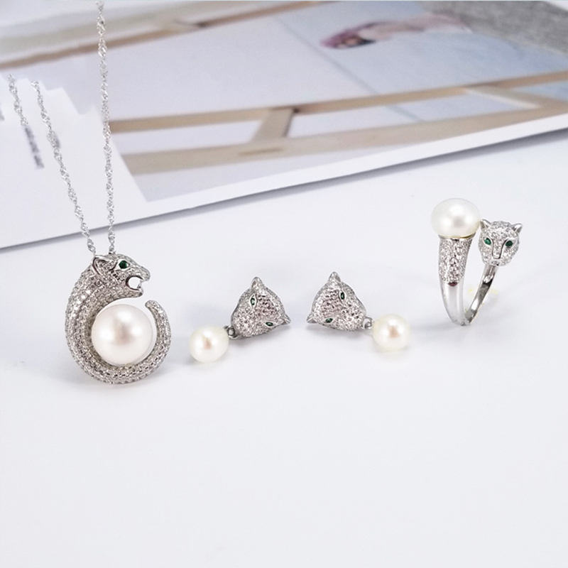 Luxury Sliver 925 Pearl Jewelry Sets Woman Inlaid Zircon Leopard Head Pearl Ring Earring Pendant Mountings Wholesale 5pcs wholesale price 16new ^^^^ewellery green stone inlay zircon earring pendant ring sets