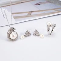 Luxury Sliver 925 Pearl Jewelry Sets Woman Inlaid Zircon Leopard Head Pearl Ring Earring Pendant Mountings Wholesale 5pcs