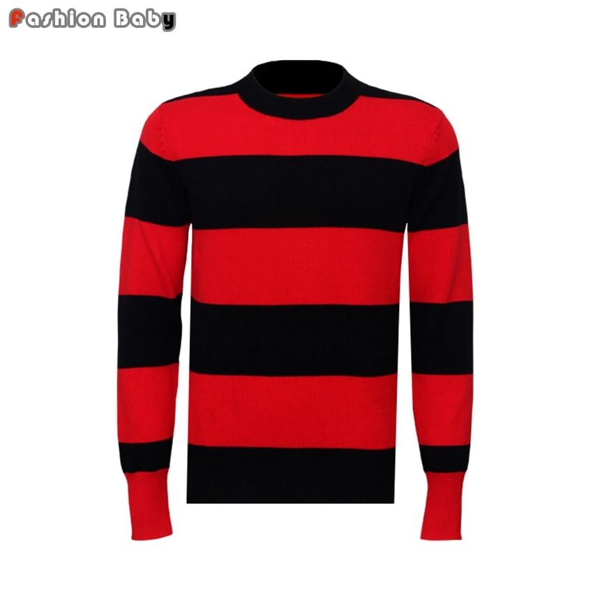 Zwart Rood Gestreepte Trui.Kwaliteit Mannen Klassieke Zwart Rood Gestreepte Trui Herfst Winter