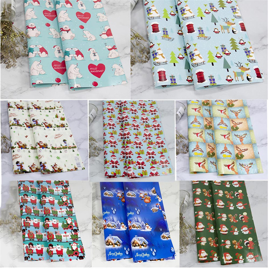 Christmas Craft Paper 3PCS Cartoon Christmas Wrapping Paper Gift Present Tree Wrap Decorative Xmas Party Roll Christmas Gift 30 craft