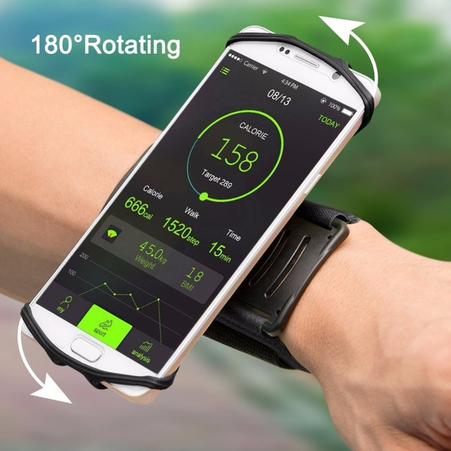 """100% Wristband Phone Case Holder 180 Rotatable for Running Cycling Gym Jogging Suitable For 3.5"""" 6"""" All Cell Phone"""