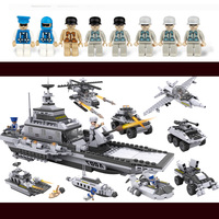 743pcs Building Blocks Aircraft airplane ship Bus tank police city Military Carrier 8 in 1 Model Kids Toys Christmas Gift