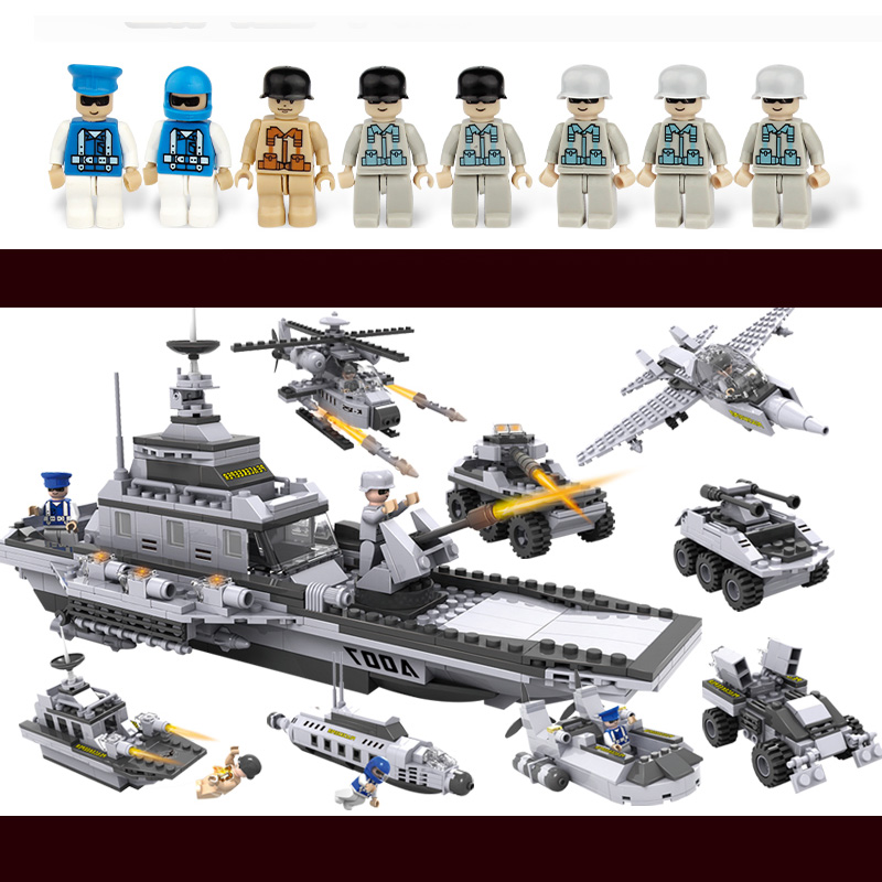COGO 743pcs Building Blocks Aircraft airplane ship Bus tank police city Military Carrier 8 in 1 Model Kids Toys Christmas Gift bevle gudi 8913 856pcs city series air bus large passenger aircraft building blocks model bricks gift for children airplane toys