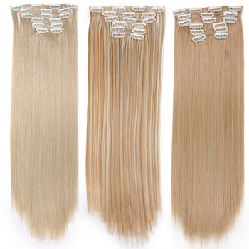 Long Blonde hair Synthetic Clips in Hair Extensions Straight 22 2