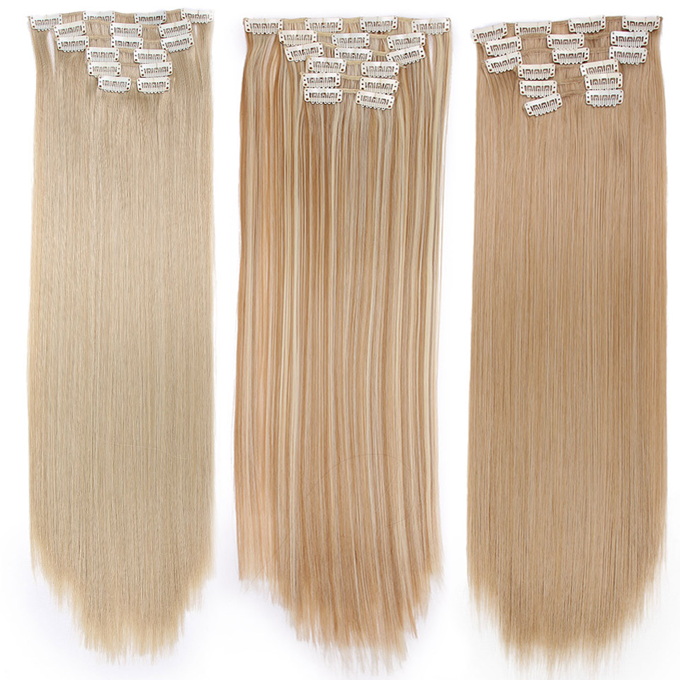 Long Blond hair Synthetic Clips in Hair Extensions Straight 22