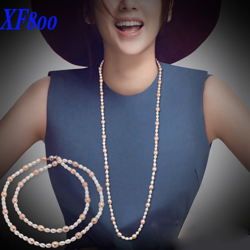 XF800 new Arrival women long pearl necklace 90cm, Natural drop shape Sweaters chain X121 long chain enamel bird shape drop earrings
