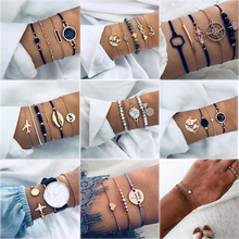 4 Pcs/ Set Trendy Map Knot Round Crystal Multilayer Adjustable Bohemian Bracelet Women Fashion Party Jewelry Multiple Styles