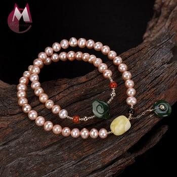 2019 Friendship Natural Pearl Beeswax Jasper Bracelet Bangle 100% 925 Sterling Silver Women bead Bracelet LOVE Gift Jewelry R07
