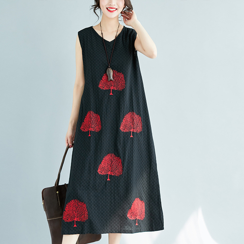 F&JE 2018 Summer Fashion Arts Style Women Loose Casual V-neck Dresses all-match Ankle-length cotton linen Dress Big Size U12