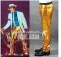 Шипы! Человека Star сцена выступления дизайнер золото брюки приталенный брюки