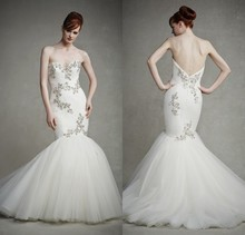 Fast Shipping Vestidos De Casamento Bride Dress 2015 Sexy Mermaid Wedding Vestido Noiva Custom Made Bridal Gown RBW527