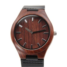Mens Wooden Fashion Watch With High Quality Japenese MIYOTA Movement Leather Wristwatch Gift Clock With Paper