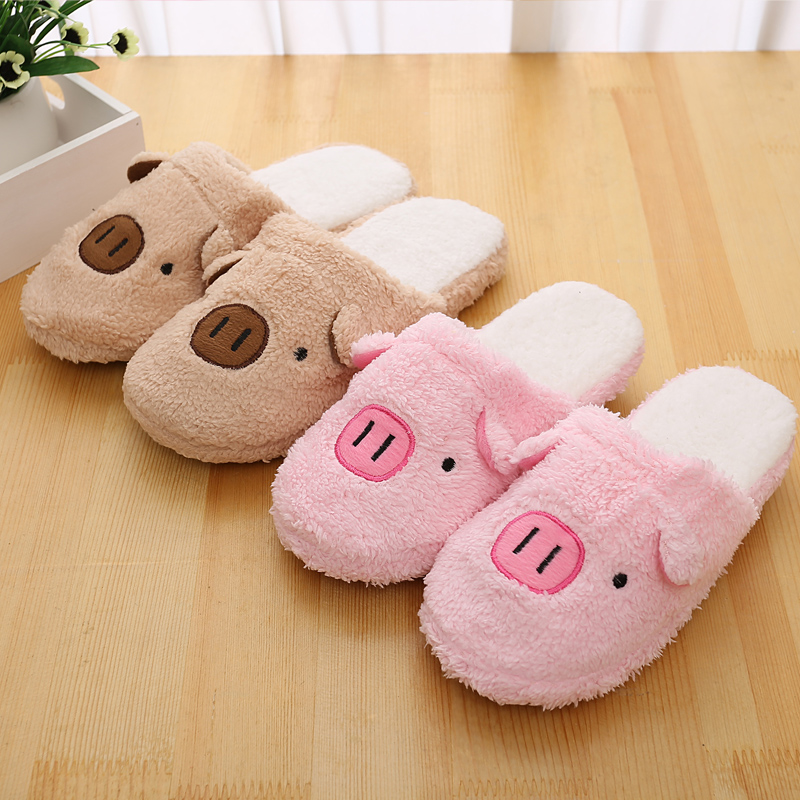 Women House Slippers Hello Pig Plush Warm Home Slippers Thermal Indoor Slipper for Autumn Winter Soft Sole Shoes men winter soft slippers plush male home shoes indoor man warm slippers shoes