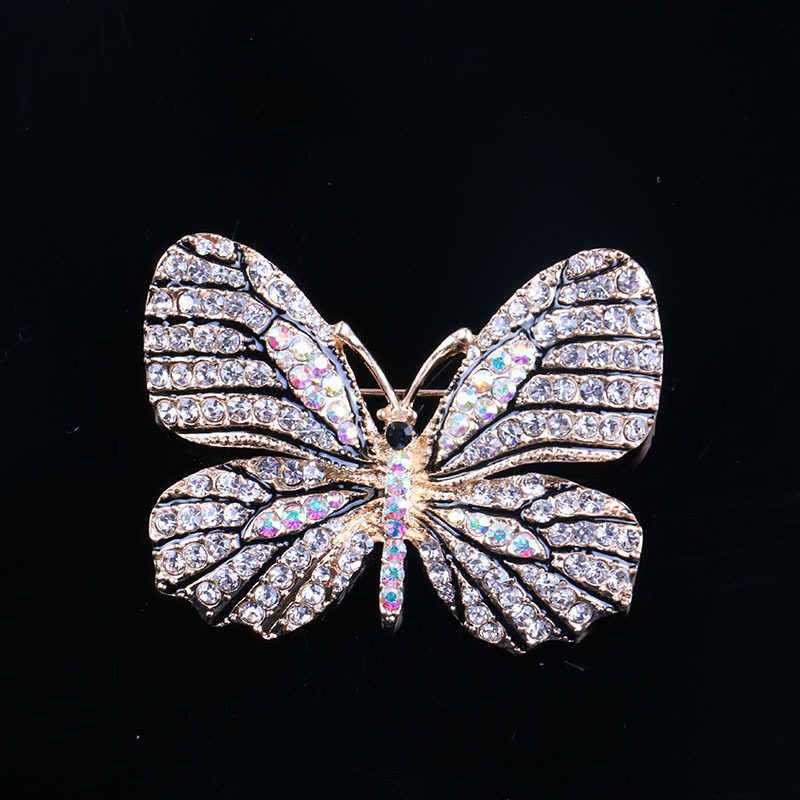 LNRRABC Women Gold Color Rhinestones Butterfly Brooches Pins Suit Coat Dress Sweater Clips Fashion Jewelry Clothes Decoration