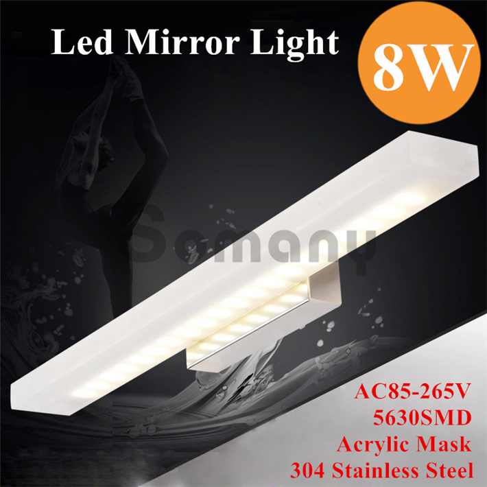 ФОТО Modern 8W Led Mirror Light 5630SMD Acrylic Mask Three Lighting Color In One for Bedroom/Bathroom/Living Room Led Wall Lamp
