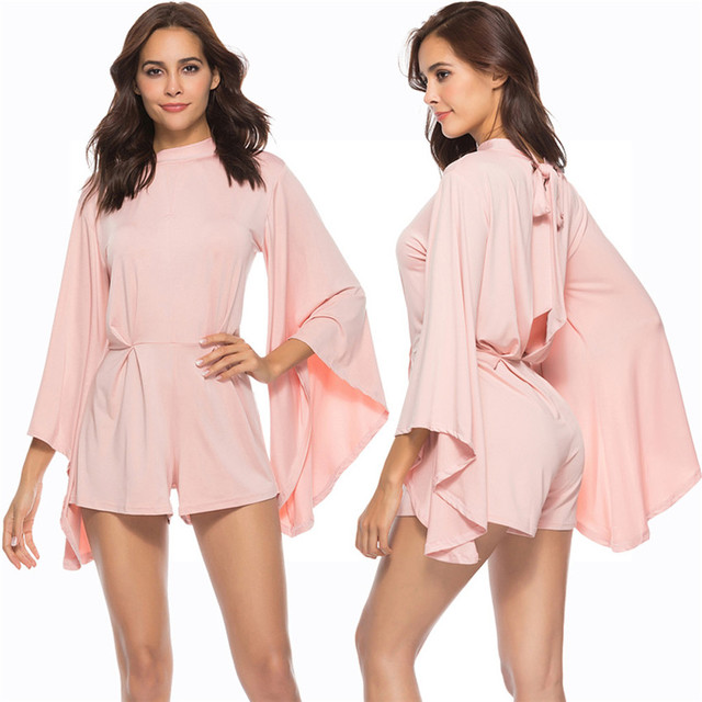 Female fashion suits Solid Straight Playsuits Women Bodycon Long sleeve  Batwing Backless Cocktail Party Jumpsuit A 487 d355f61d1967