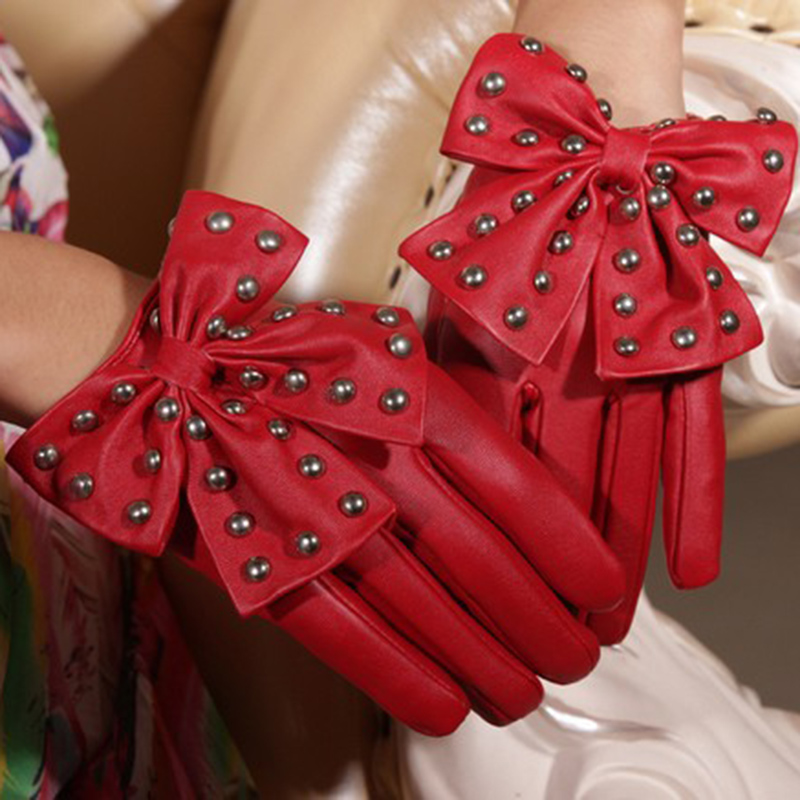 Hot Selling Winter Motorcycle Lady Rivet Butterfly Bow Soft PU Leather Gloves For Women Black Red High Quality Fashion Accessory