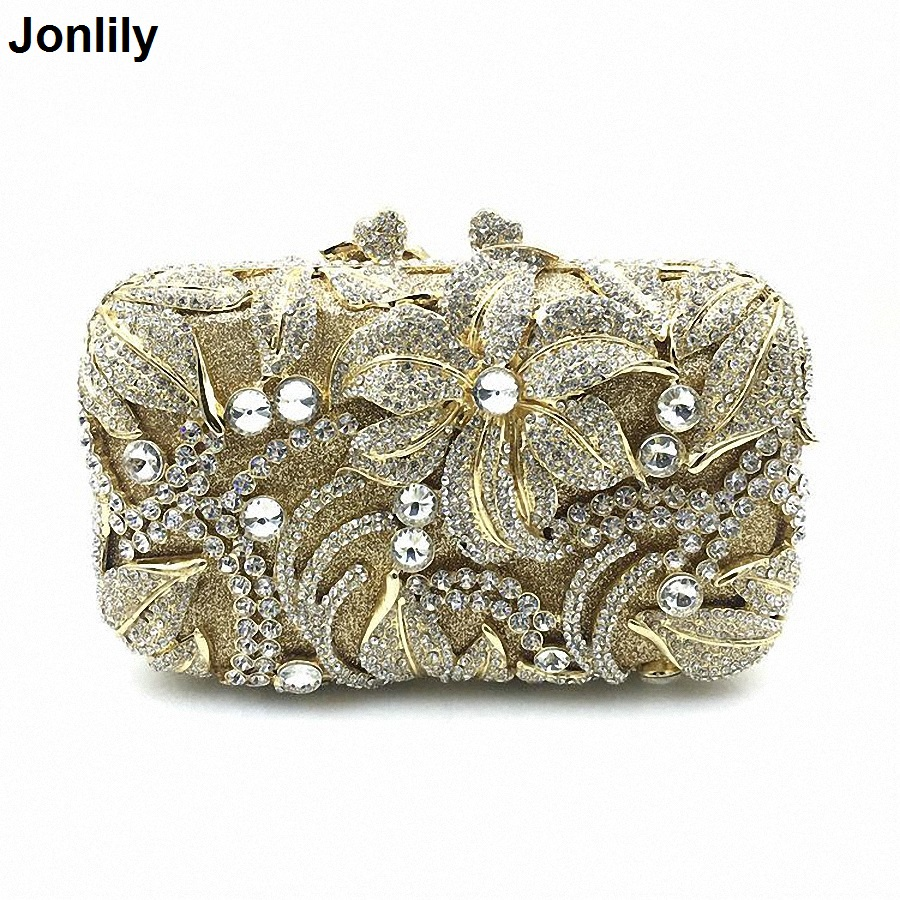 Fashion Women Gold Plating Rose Flower Hollow Out Crystal Evening Metal Clutches Small Minaudiere Handbag Wedding Clutch LI-1559