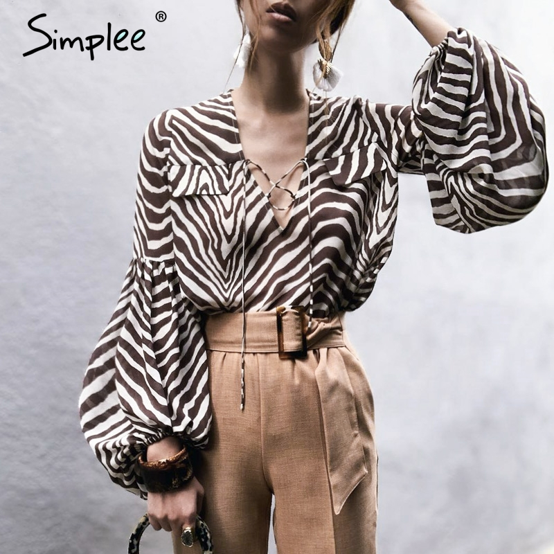 Simplee Zebra stripe printed women   blouse     shirt   Bell long sleeve female top   shirt   Elegant v neck lace up ladies   blouse     shirt