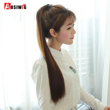 AOSIWIG Straight Ponytail Long Wig High Temperature Synthetic Female Hair Clip Extension Wig For All Women(China)