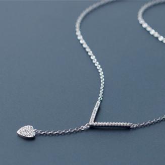 Bonito Strass Forma Do Coração Colar de Pingente de Wishbone 925-sterling-silver | Sexy Clivagem Esterlina-prata-jóias Bijoux Collier
