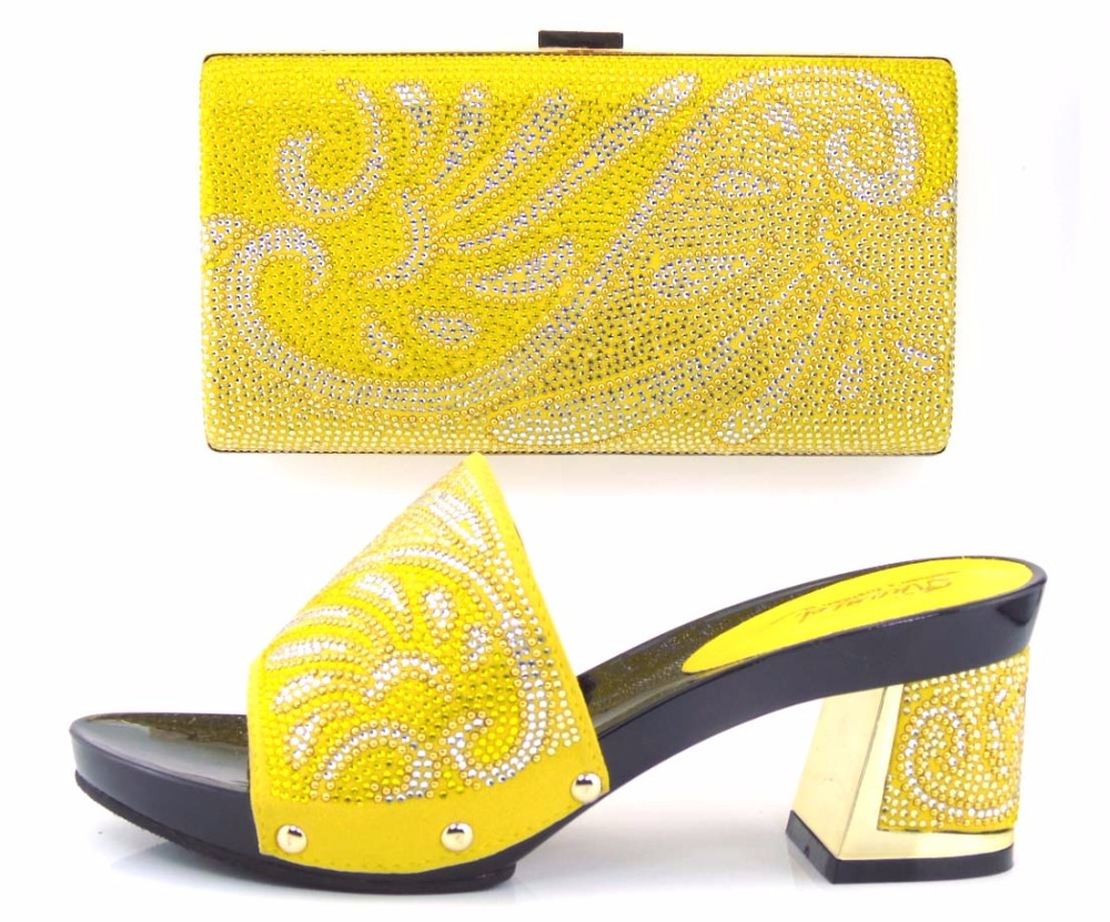(TH16-35)Yellow 2016 new arrival fashion Italian shoes with matching bags set for wedding and party African shoes and bag sets