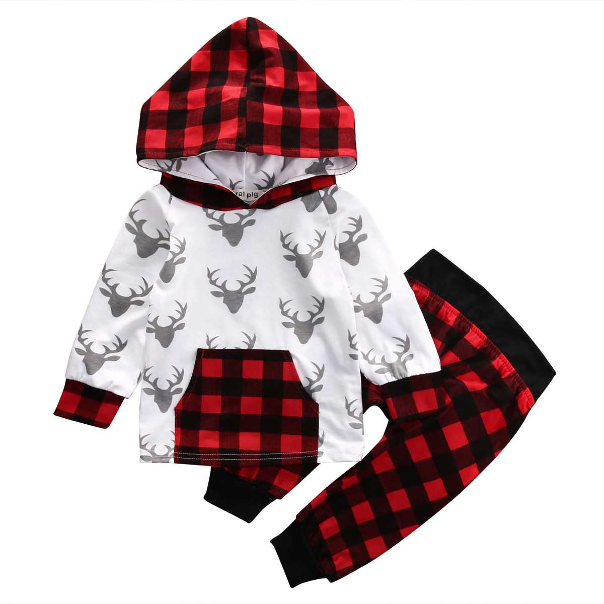 2PCS Toddler Kids Baby Boy Girl Clothes Fashion Suit Newborn Infant Bebes Deer Long Sleeve Hooded Top T-shirt Plaid Pant Outfit 2017 new fashion cute rompers toddlers unisex baby clothes newborn baby overalls ropa bebes pajamas kids toddler clothes sr133