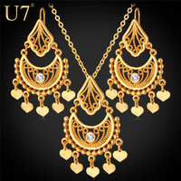 Indian Jewelry Sets Vintage 18K Gold Platinum Plated Rhinestone Heart Pendant Vintage Tassels Necklace Earrings Set
