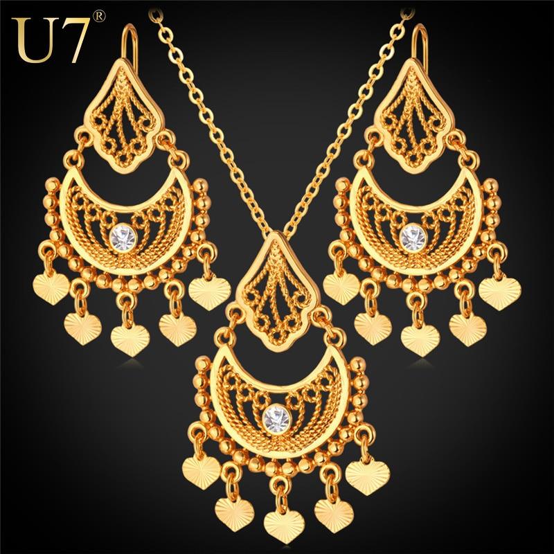 U7 Gold Plated Indian Jewelry Set For Women Rhinestone Fashion Vintage Heart Tassels Earrings Necklace Sets S624 & U7 Gold Plated Indian Jewelry Set For Women Rhinestone Fashion ...