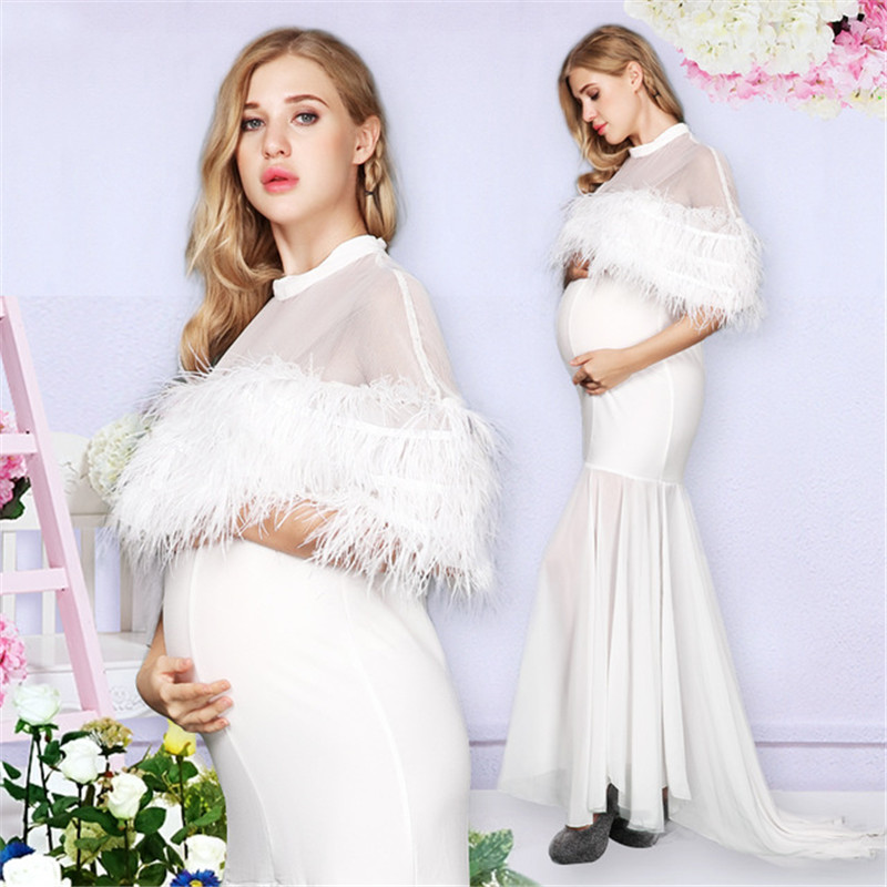 Women White Skirt Maternity Photography Props Lace Pregnancy Clothes Maternity Dresses For pregnant Photo Shoot Clothing RQ125