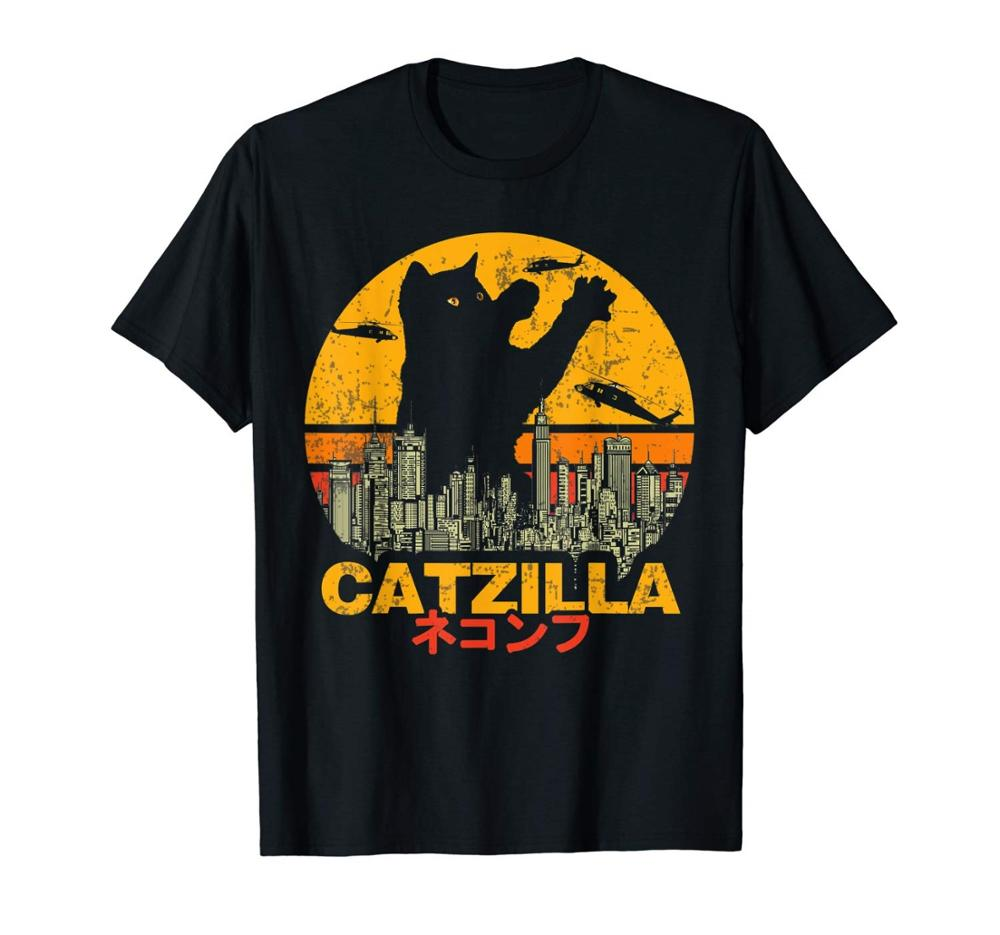 Vintage Catzilla Sunset - Kitty Cat Lovers Halloween T-Shirt Fashion Hot 2019 Man Clothes Fashion Casual Male Cool Tees Shirt