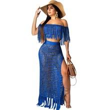 цены на Slash Neck Knit 2 Piece Set Women Tassels Two Piece Crop Top and Skirt Set Crochet Beach Wear Sexy Summer Outfit  в интернет-магазинах