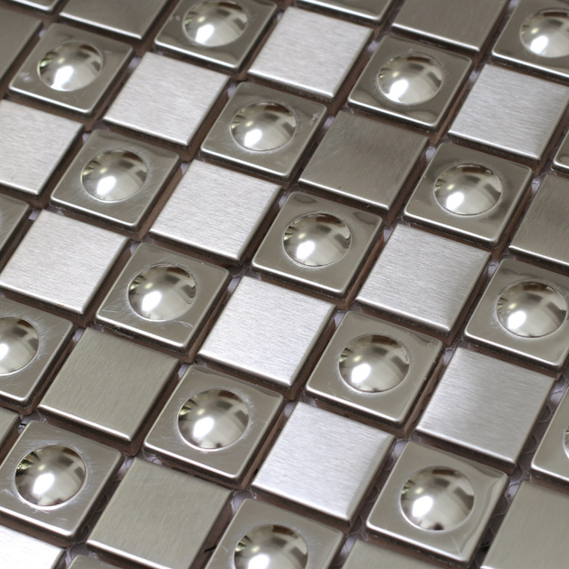 3D Square Silver Color Stainless Steel Metal Tiles Special Design For Kitchen  Backsplash Wall Mosaic Tiles