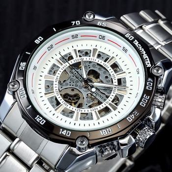 2019 Winner Luminous Brand Steel Men Automatic Mechanical Watch Skeleton Military Relogio Male Montre men watches Relojes hombre