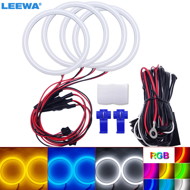 LEEWA 4X100mm Car Auto Halo Rings Cotton Lights SMD LED Angel Eyes for Ford Focus 08+ Bi Xenon Car Styling White/Blue/Yellow/RGB