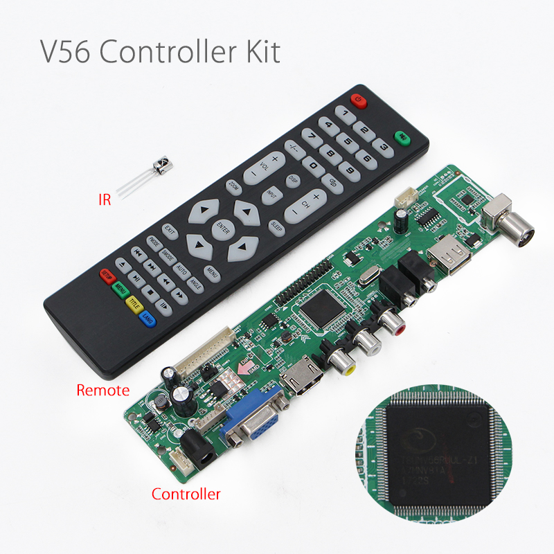 V56 Universal LCD LED TV <font><b>Controller</b></font> Driver Board AV/PC/VGA/HDMI/USB Interface USB play multi-media V29 V59 With Remote