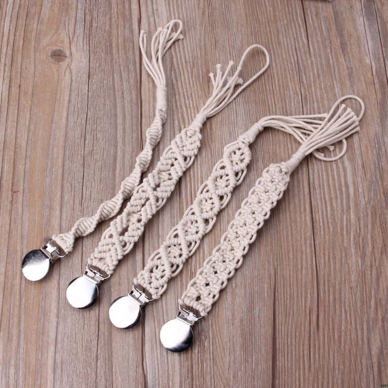 Baby Dummy Chain Pacifier clip Crochet Cotton Soother Holder Infant Wooden Beads