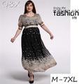 CM10 New Women Long Summer Dress Retro Floral Print Vintage Dress Short Sleeve Floor-Length Female Party Maxi Dress Vestidos