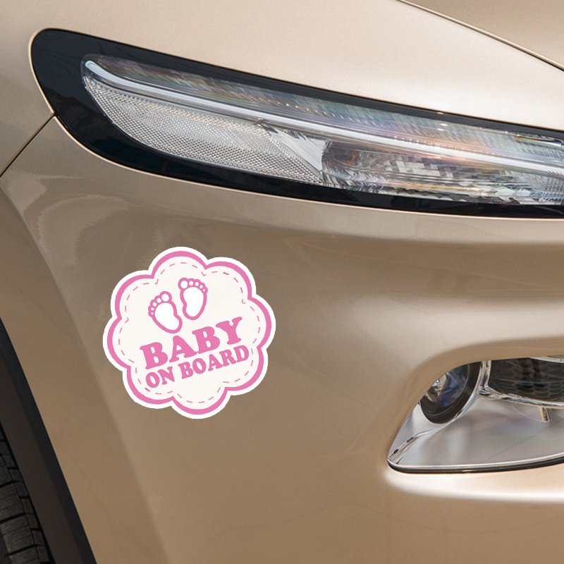 YJZT 15.7*15.7CM Flowers Graphic Lovely Car Sticker Colored Cartoon BABY ON BOARD Decoration C1-5524