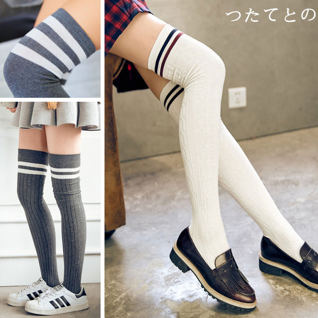 734865333 Cotton over knee socks South Korean students college school long tube thick  thigh high stockings silk